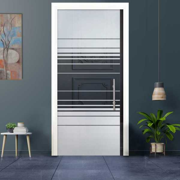 Sliding Pocket Glass Door with Frosted Design and Hardware PSGD-0033