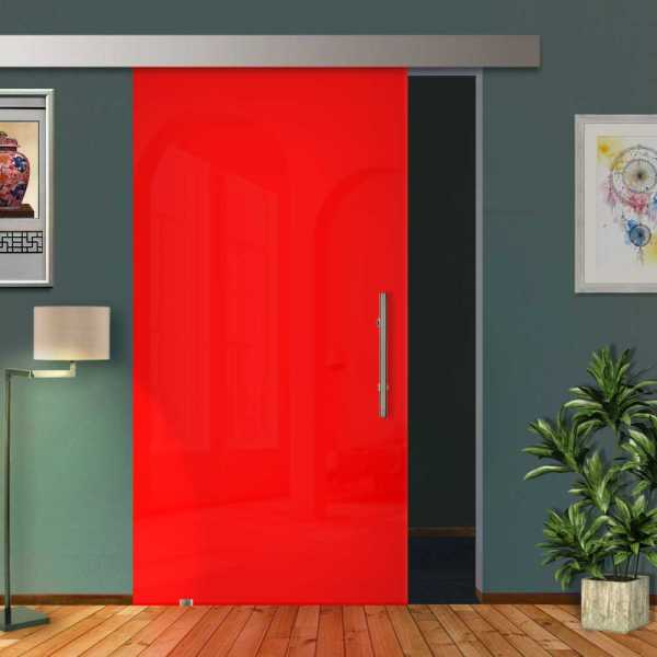 Red Frameless Glass Sliding Barn Door