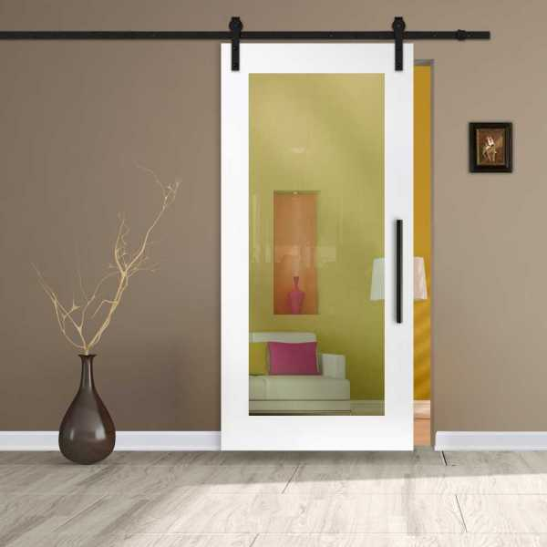 MR MDF Sliding Barn Door with glass insert (clear glass) and carbon steel sliding system