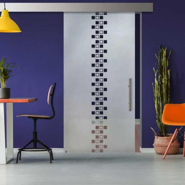 Glass Barn Door (Model SGD-ALU100-0301 Semi-Private)