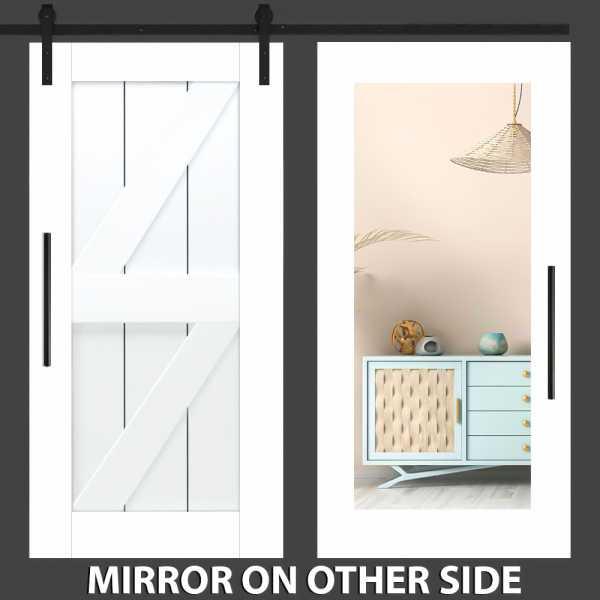 Z Mirror Barn Door with Mirror Panel