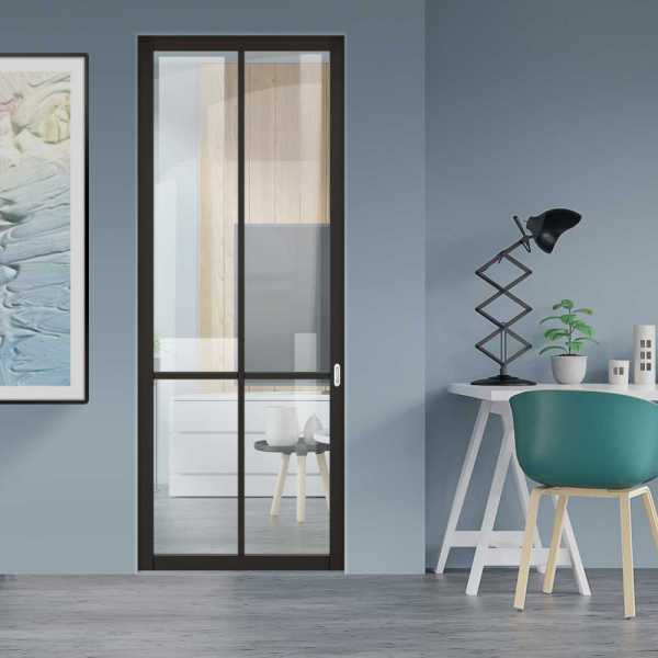 Industrial Style Pocket Door with Clear Glass 4 Panels & Oval Stainless Steel Grip Handle