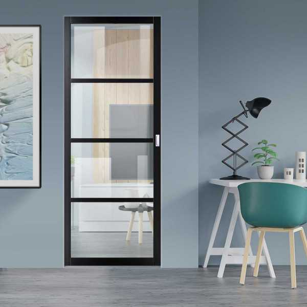 Industrial Style Pocket Door with Clear Glass 4 Panels & Rectangular Stainless Steel Grip Handle