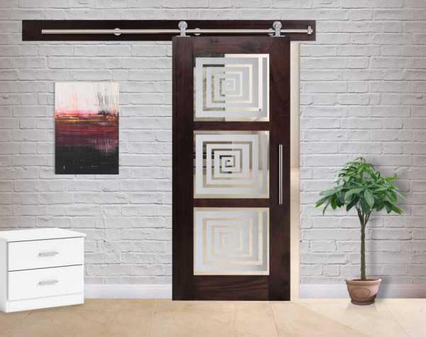 3 Lite Walnut Hardwood Sliding Barn Door with Glass Insert WGD-0059