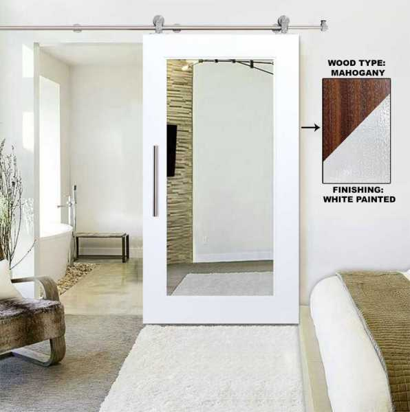 Real Solid Hardwood Sliding Door with Mirror Insert WMD-0102