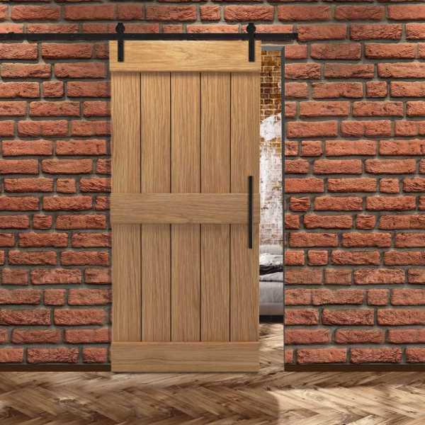 Real Solid Hardwood Center Brace Sliding Barn Door WD-0009