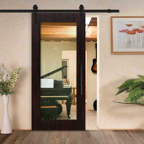 Sliding MR MDF veneered barn door with clear glass insert and carbon steel sliding system