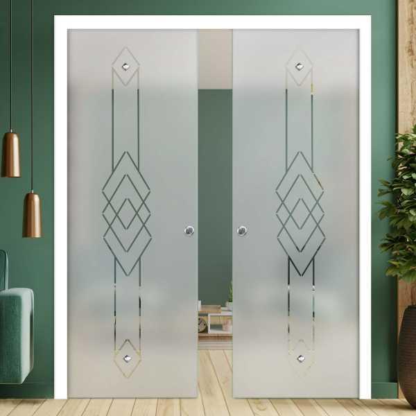 Double Pocket Glass Barn Door (Model DPSGD-0149 Full-Private)_Handle Bar