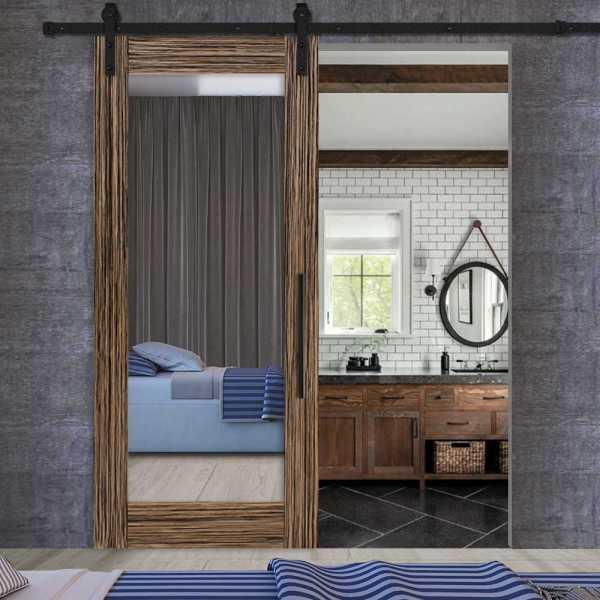Sliding MR MDF wenge veneered barn door with mirror insert and carbon steel sliding system