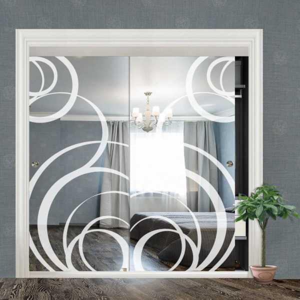 """Frameless 2 Leaf Sliding Closet Bypass Mirror Door 48"""" CMD-0028"""