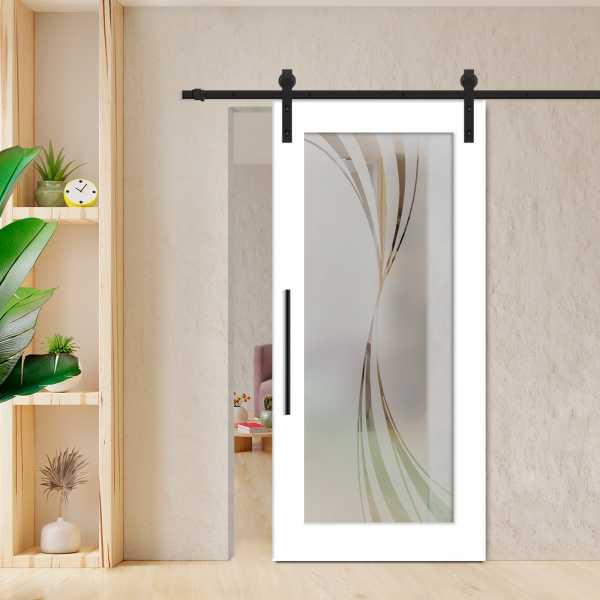 Sliding Barn Door (Model WGD-0008 Semi-Private) with Carbon Steel Sliding System