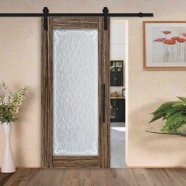Sliding MR MDF veneered barn door with textured glass insert (victorian border frosted design) and carbon steel sliding system