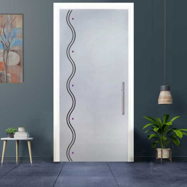 Sliding Pocket Glass Door with Frosted Design and Hardware PSGD-0014