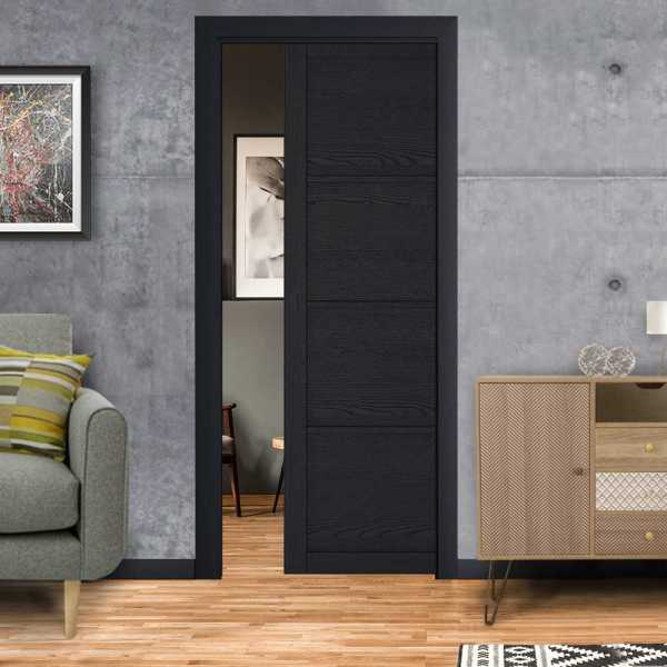 Industrial Style Pocket Door 4 Panels with a Oval Carbon Grip Handle