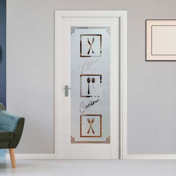 Pantry Room MDF Hinged Doors with Glass Insert CHMDI-0004