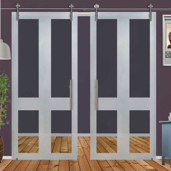 ++Sales Offers++ Double Sliding Glass Barn Door DSGD-V1000-0029