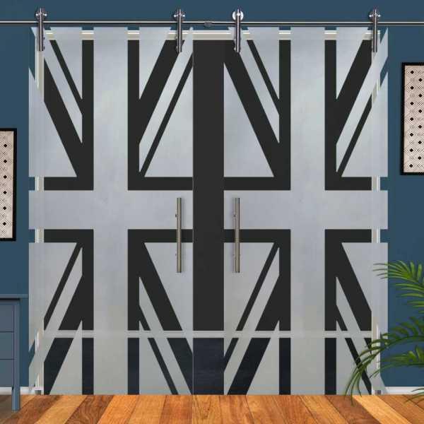 Double Glass Barn Door (Model DSGD-V1000-0070 Semi-Private)