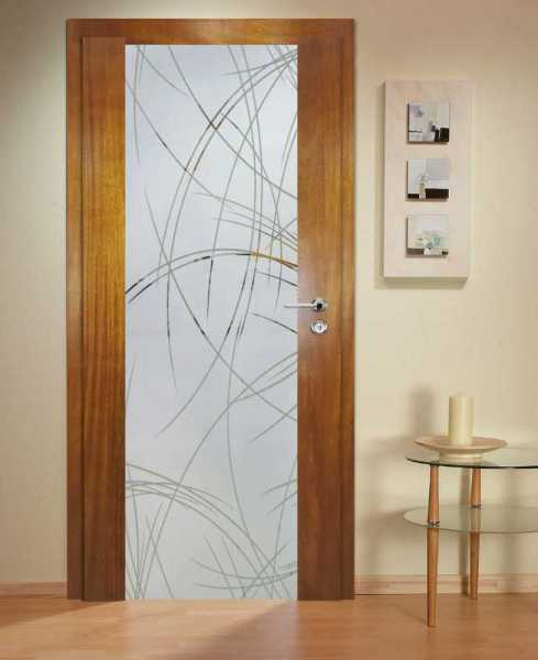 Solid Wood Hinged Door with Glass Insert HWDI-0029