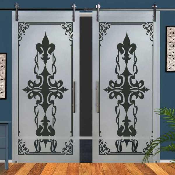 Double Glass Barn Door (Model DSGD-V1000-0065 Semi-Private)