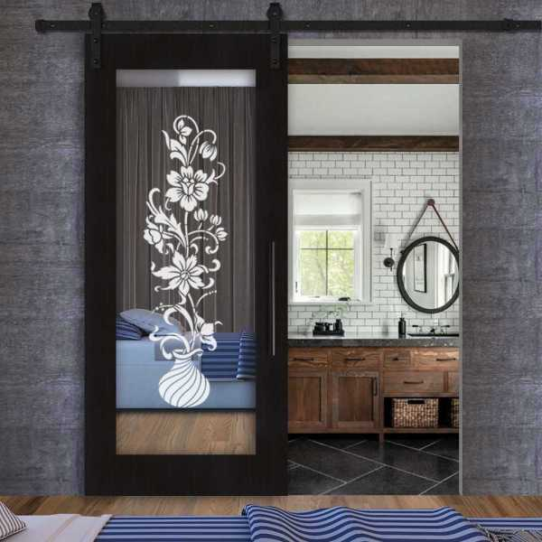 Wenge Wood Sliding Barn Door with Mirror Insert and Frosted Floral Designs VWGD-0060