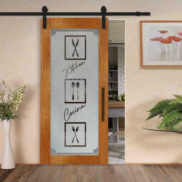 Pantry Room Real Solid Hardwood Sliding Door with Glass Insert CWGD-0004