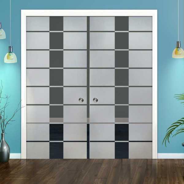 Double Pocket Glass Barn Door (Model DPSGD-0057 Semi-Private)_Recessed Grip Handle