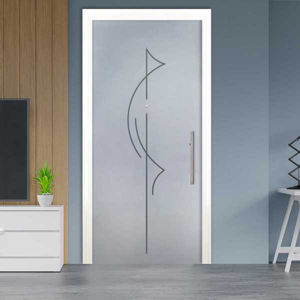 Sliding Pocket Glass Door with Frosted Design and Hardware PSGD-0066