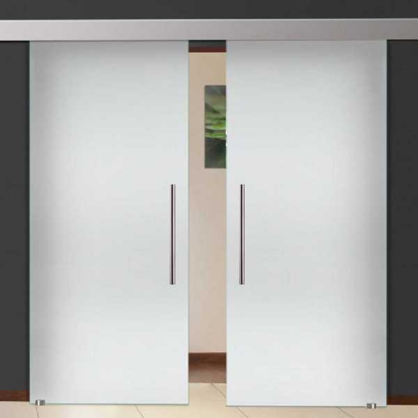 """Double Sliding Glass Barn Doors Privacy / Opaque Frosted Design 52""""x84"""" Inch (2x26""""x84"""" 3/8"""" (10 mm"""