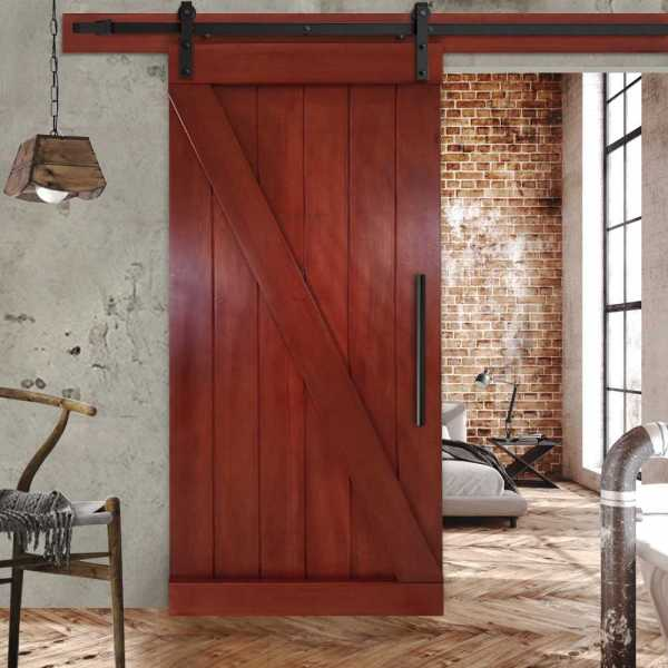"Solid Mahogany Z Sliding Wood Barn Door with Mahogany Stain 36""x84"" WDLAGER-0005"