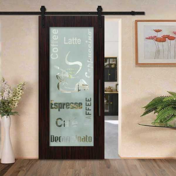 Sliding veneered barn door with glass insert (semi-private frosted design) and carbon steel sliding systemSliding MR MDF veneered barn door with glass insert (semi-private frosted design) and carbon steel sliding system