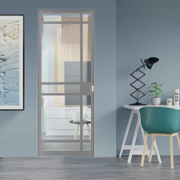 Industrial Style Pocket Door with Clear Glass 9 Panels & Oval Stainless Steel Grip Handle