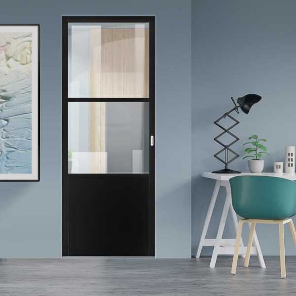 Industrial Style Pocket Door with Clear Glass 2 Panels & Oval Stainless Steel Grip Handle