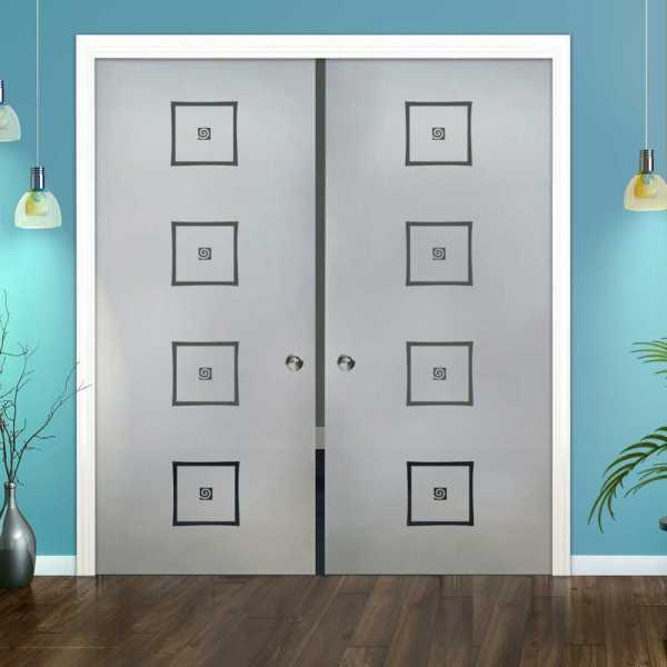 Double Pocket Glass Barn Door (Model DPSGD-0036 Semi-Private)_Recessed Grip Handle