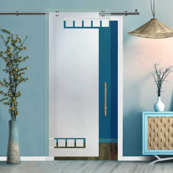 Single Sliding Barn Glass Door SGD-V2000-0458 (Semi-private)