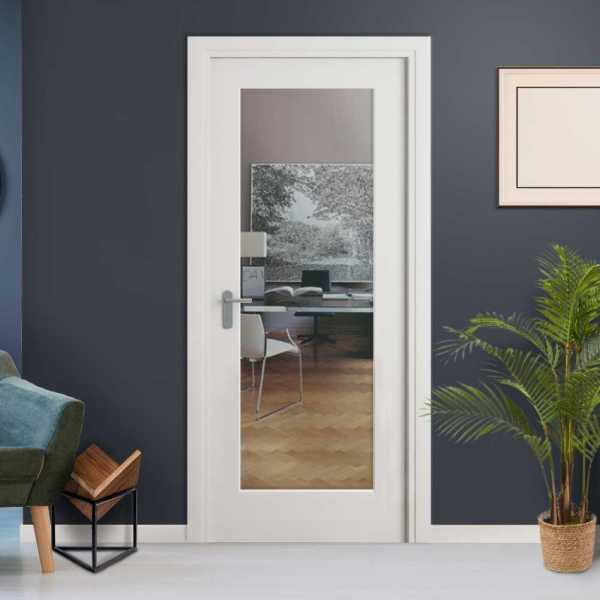 Clear 1 Lite Interior Door with Glass Insert (open to Right)