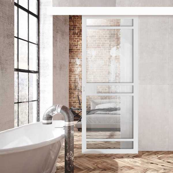 Loft Style with Clear Glass 5 Panels + Alu100 Wood Fascia / Cover Hardware Kit & Oval Stainless Steel Grip Handle