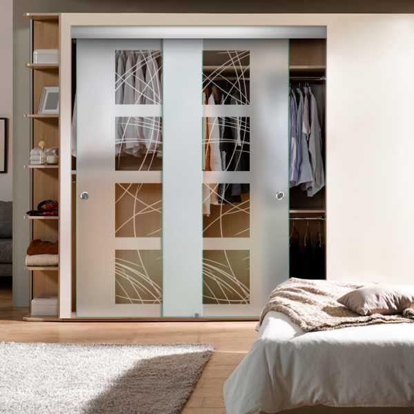 Frameless 2 Leaf Sliding Closet Bypass Glass Door with Hardware CGD-0012