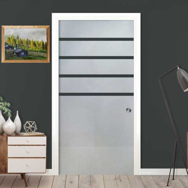++Sales Offers++ Sliding Pocket Glass Door with Frosted Design and Track System PSGD-0001