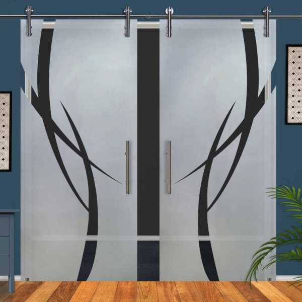 Double Glass Barn Door (Model DSGD-V1000-0056 Semi-Private)