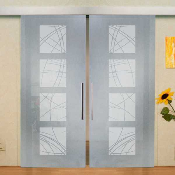 """Double Sliding Barn Glass Door, 2x 36x96 = (72""""x96""""), Glass Thickness: 10mm and Full Private Design-"""