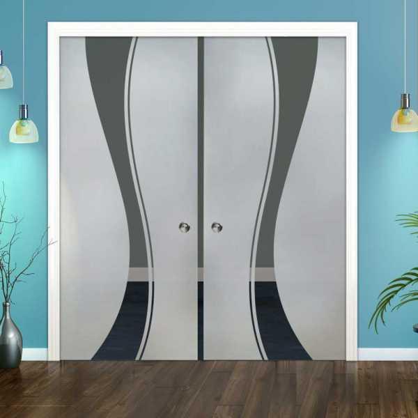 Double Pocket Glass Barn Door (Model DPSGD-0049 Semi-Private)_Recessed Grip Handle