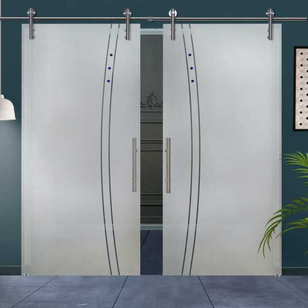 Double Glass Barn Door (Model DSGD-V1000-0010 Semi-Private)