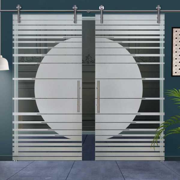 Double Glass Barn Door (Model DSGD-V1000-0021 Semi-Private)