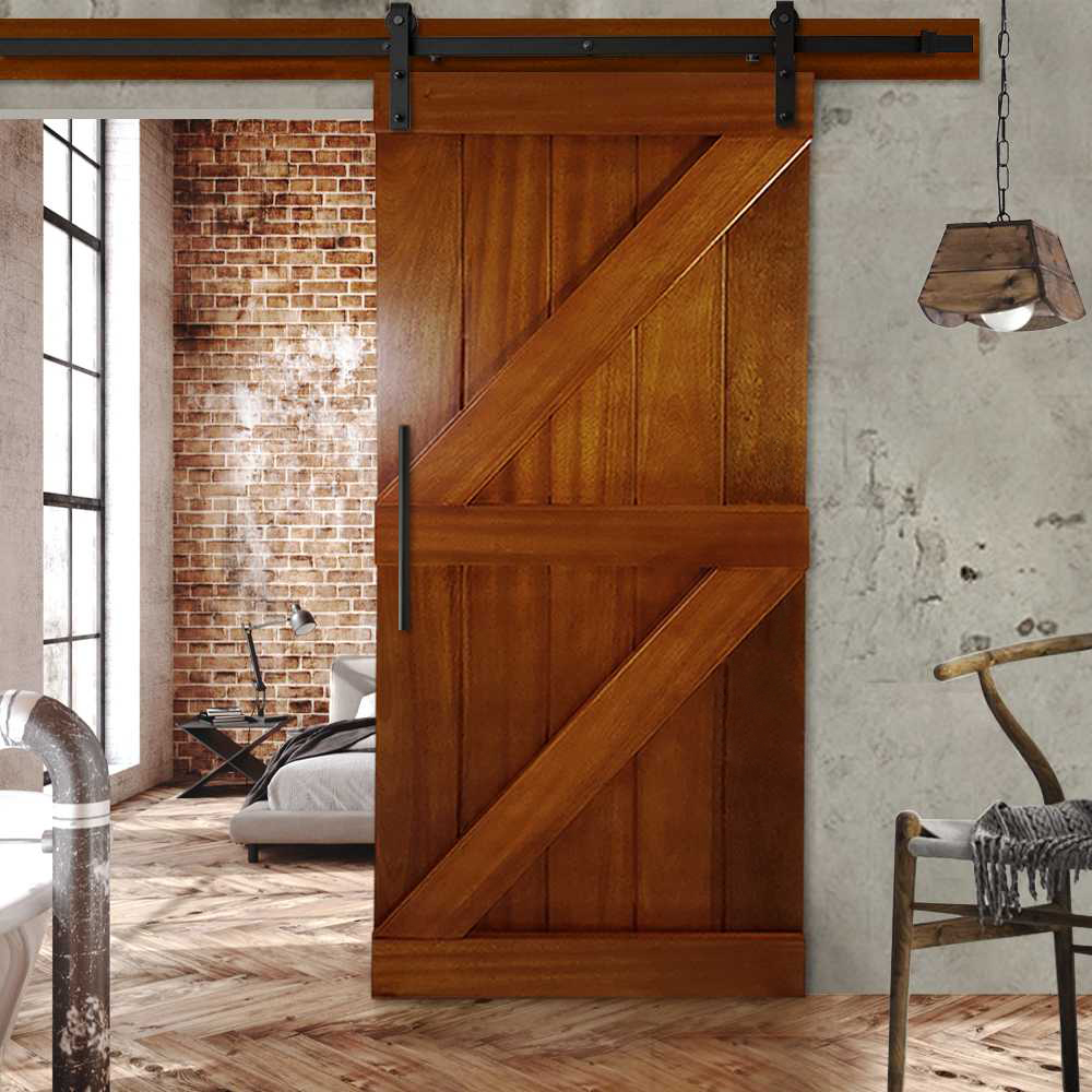 Details About Tropical Solid Oak Double Z Sliding Barn Door Hazelnut Stain Finished 32 X84