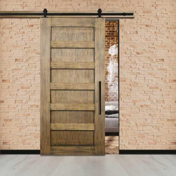 Vintage Ranch Sliding Barn Door with 5 Center Brace & Carbon Steel Hardware.