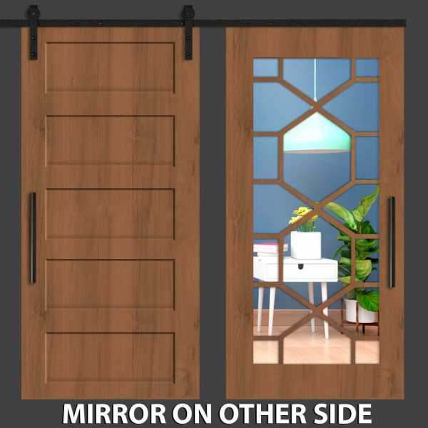 Hybrid with Five panel Mirrored Barn Door and Hexagon Framed Mirror Insert