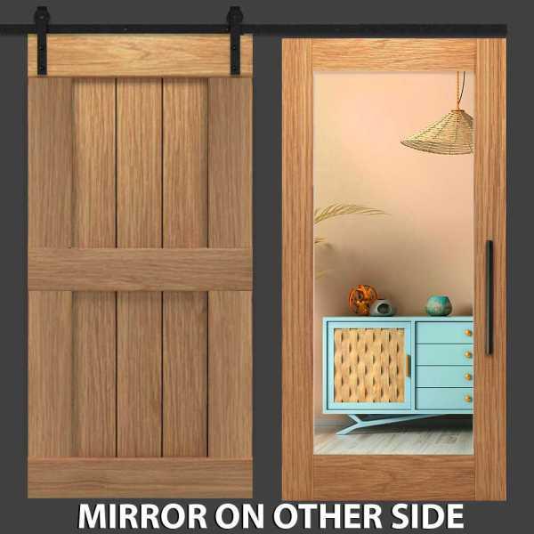 Hybrid Two Panel Mirror Barn Door with Mirror Insert WMD-0007