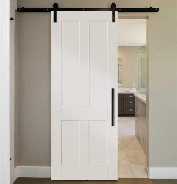 4-Vertical-Panel Shaker Barn Door with Carbon Steel Hardware
