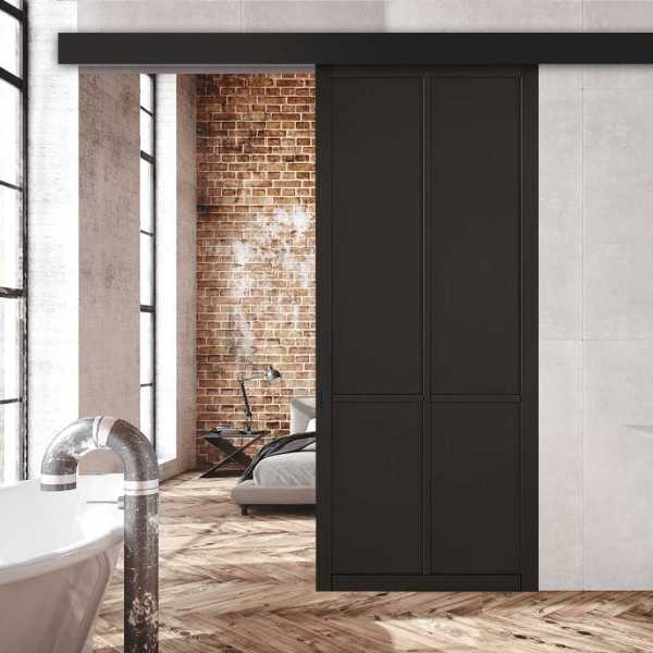 Loft Style 4 panel Barn Door Hardware Kit Cover Plate (Fascia) Polyurethane Coating RAL9011 & Oval Carbon Grip Handle