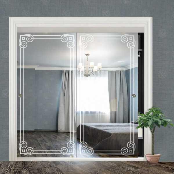 """Frameless 2 Leaf Sliding Closet Bypass Mirror Door 48"""" CMD-0022"""